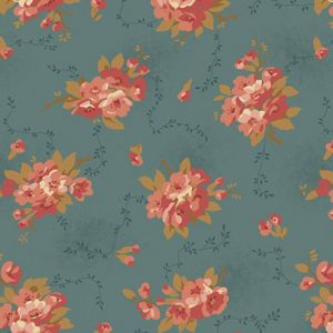 Edyta Sitar 2/ 8986 T Bed of Roses Dahlia Dusty Blue Makower