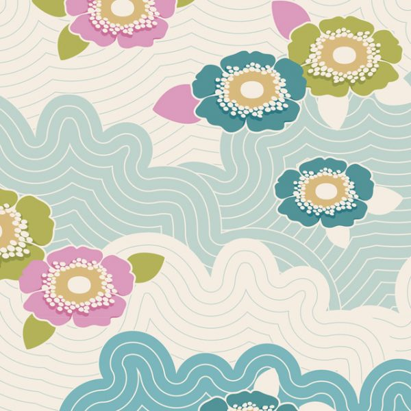 Lazy days Tilda 110 Frances Teal 100180 quiltstof