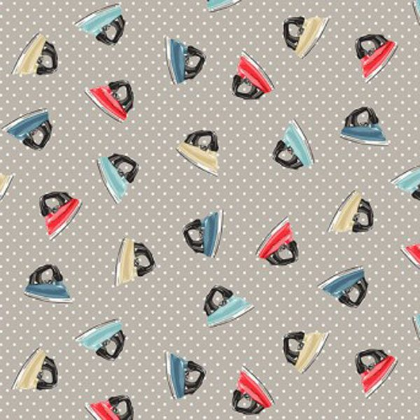 Makower Stitch in Time 2137 S Irons Grey quiltstof