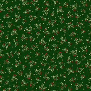 Deck the Halls Leaf Swirl Makower UK 2094 G quiltstof patchworkstof