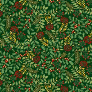 Deck the Halls Leaf Swirl Makower UK 2093 G Quiltstof Patchworkstof