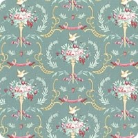 Tilda Old Rose Birdsong Teal-green quiltstof