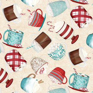 Wilmington Prints Danielle Leone Cuppa Cocoa 27573 134 Tossed Cups Cream