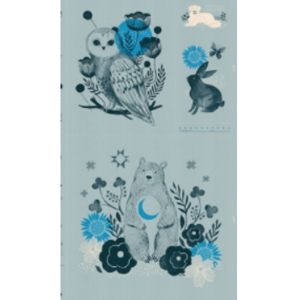 Sarah Watts Ruby Star Society Crescent Moonlit Forest Soft Blue panel Moda