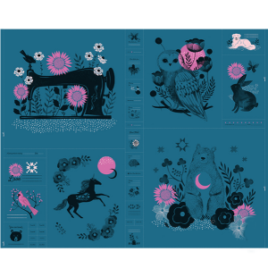 Sarah Watts Ruby Star Society Crescent Moonlit Forest Teal panel Moda