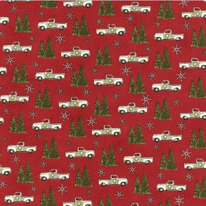 Moda Deb Strain Homegrown Holidays Barn Red Truck & Trees 19942 13