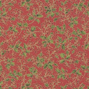 Moda Poinsettias Pine Crimson 33514 12M Metallic