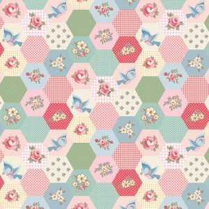 Poppie Cotton Dots and Posies Birds & Hexies DP20421